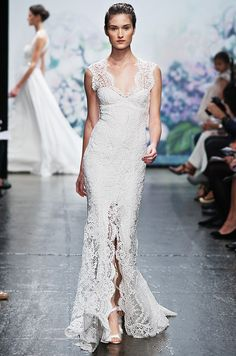 Monique Lhullier #lace #thedress #wedding id like this in a lavendar for the brodesmaids