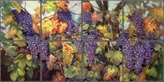 Wine Grape Tile Mural | Pacifica Tile Art Studio