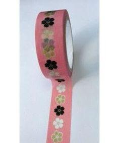 Washi Tape/Masking Tape/ruban adhésif scrapbooking 6 m FLEUR FOND ROSE : Masking tape par mapierrine