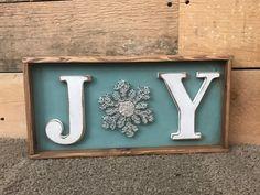Ready To Ship JOY snowflake wood sign string art by jodyaleavitt