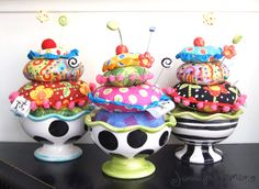 Stack of Pincushions in a Cup - How Fun! #tutorial