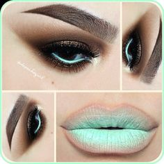 """Stila eyeliner in """"Mint Julep"""" on my lips and on my water line. NYX """"Natural"""" Lip Liner and """"Refreshmint"""" Lipstick by Puckher Cosmetics. MAC Eyeshadows - Embark, Saddle, & Vanilla. Other eyeshadows by MUFE. Brandy Glitter from The Glitter Bar."""