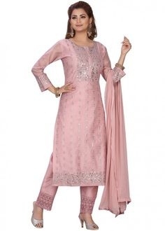 #peach #embroidered #readymade #salwar #kameez #traditional #indian #salwar #suit #indianfashion #party #wear #collection #eid #2021 #ootd Pakistani Suits, Pakistani Dresses, Readymade Salwar Kameez, Chanderi Suits, Straight Cut Pants, Latest Designer Sarees, Silk Pants, Indian Ethnic Wear, How To Dye Fabric