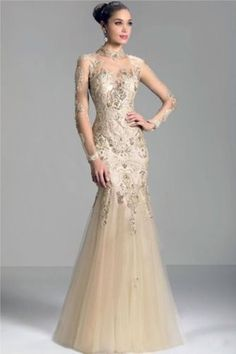 Janique champagne 2014 long sleeve Mother of the Bride Dresses sheer high  neck lace applique beads mermaid prom evening formal gowns 858e7ea8b38c