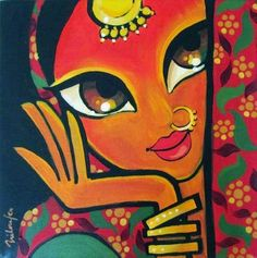 Pretty painting of woman. Rajasthani Painting, Rajasthani Art, Poster Color Painting, Mural Painting, Painting Tips, Fabric Painting, Watercolor Painting, Madhubani Art, Madhubani Painting