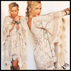 Vintage 60s CROCHET BELL ANGEL SLEEVES Mini DRESS *L/XL