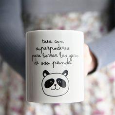 Taza con superpoderes para borrar las ojeras de oso panda  a la venta en Pintaderas