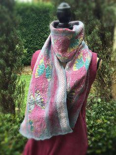 Felt scarf hand felt scarf nuno felt scarf long by SilkWoolTouch Nuno Felt Scarf, Nuno Felting, Plaid Scarf, My Etsy Shop, Trending Outfits, Handmade Gifts, Vintage, Shopping, Fashion