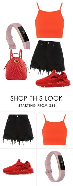 """Untitled #25"" by joliebarnes1 on Polyvore featuring Ksubi, Topshop, NIKE, Fitbit and Gucci"