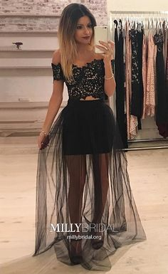 Elegant Prom Dresses with Sleeves,Two Piece Homecoming Dresses Black,Modest A-line Cocktail Party Dresses Lace,Off-the-shoulder Pageant Graduation Dresses Tulle