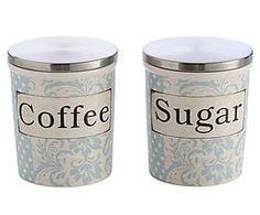 Conjunto de potes para açúcar e café soft flowers