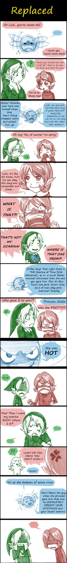 "Adult Link, Navi the fairy, and Saria - The Legend of Zelda: Ocarina of Time; funny comic by =AKUMA-Y0RU on deviantART, ""Replaced"""