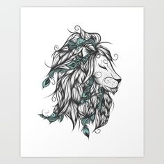 Poetic Lion Turquoise Art Print by LouJah. Worldwide shipping available at Society6.com. Just one of millions of high quality products available.
