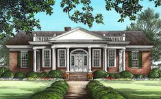 An elegant front portico supported by stately columns makes a grand entrance to this Southern house plan. An arched opening leads from the foyer to the huge vaulted great room with its built-in entertainment center and warm fireplace. The gourmet kitchen is niely placed between the formal dining room and the breakfast nook. There is an extra sink in the kitchen island and a bay window expands the space. A dreamy master suite includes a large spa-like bathroom and a huge walk-in closet Modern Traditional Decor, Living Room Decor Traditional, Traditional House, Best House Plans, Dream House Plans, Built In Entertainment Center, Revival Architecture, Spa Like Bathroom, Southern House Plans