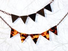 Faux Tortoise Shell Geometric Modern Necklace Fall by ThePolkadotMagpie