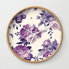 Purple floral boho pattern Wall Clock (2985 RSD) ❤ liked on Polyvore featuring home, home decor, clocks, purple wall clock, bohemian home decor, floral home decor, boho style home decor and purple clock