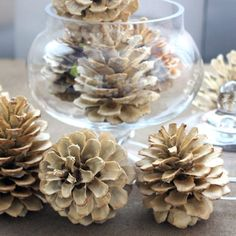 Bleached pine cones can be displayed throughout the year.