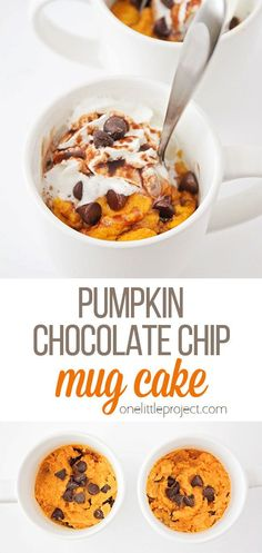This ooey-gooey pumpkin chocolate chip mug cake tastes amazing, and is so light and fluffy! It tastes just like pumpkin bread, but it's ready in minutes! Pumpkin Bread, Pumpkin Pie Spice, Pumpkin Puree, Chocolate Chip Mug Cake, Pumpkin Chocolate Chips, Cake Tasting, Vegetarian Chocolate, Desert Recipes, Recipies