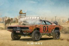 "ArtStation - Dodge charger 1969 ""off road"", Saiman Saiman Dodge Muscle Cars, Custom Muscle Cars, Custom Cars, Custom Rat Rods, Carros Off Road, Monster Car, Lifted Cars, Post Apocalypse, Us Cars"