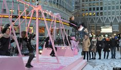 The more you Live young and play, the more snow will fall. - Evian helping Londoners Live young by turning commuter hotspots into an adult-sized playground complete with kinetic snow machines. The swing and seesaw installations are open to the public from the 7th – 11th January.