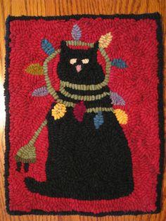 Primitive Hooked Rug Cat Kitty Vintage Wool Mat Sampler Folk Art Christmas. ~♥~