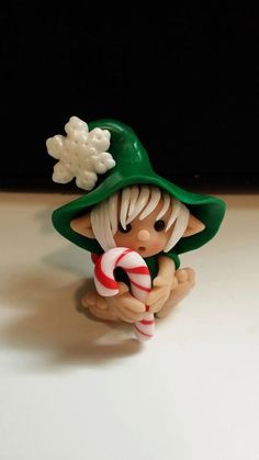 Christmas Elf Polymer Clay Figurine by Whimsybydesign1