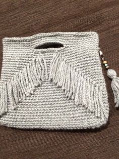 グレーフリンジニットバッグ|その他バッグ|Maame|ハンドメイド通販・販売のCreema