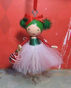 Xmas crafts - Christmas Tree Ornament Dolly green, red and white (sold) – Xmas crafts Ornament Crafts, Diy Christmas Ornaments, Christmas Projects, Holiday Crafts, Christmas Crafts, Christmas Fairy, Wood Peg Dolls, Clothespin Dolls, Clothes Pin Ornaments