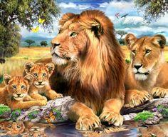 Viidakon kuningas upeasti kuvitettuna canvastaululle.