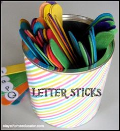 draw sticks with the letters written on them. Let me tell you more about those sticks...and a fun letter game called BANG! that we like to play with them.