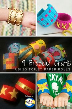 9 Bracelet Crafts using toilet paper rolls featured on Kidz Activities