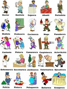 Vocabulary for the profressions and jobs in Spanish language Spanish Grammar, Spanish Vocabulary, Spanish English, Spanish Language Learning, Spanish Teacher, Spanish Classroom, Learn English, Spanish Idioms, Spanish Teaching Resources