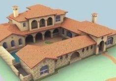 Mexican House, Mexican Style Homes, Hacienda Style Homes, Ranch Style Homes, Spanish Colonial Homes, Spanish Style Homes, Spanish House, Courtyard House Plans, Home With Courtyard