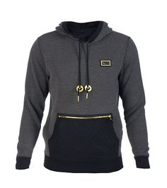 COTE DE NUITS Textured hoodie Pullover style Front kangaroo pocket Long sleeves Metallic COTE DE NUITS plate on chest