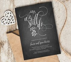 Finding the right wedding anniversary invitation wording we still do vow renewal invitation template by mintypaperieshop stopboris Images
