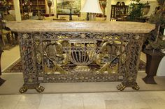 ORNATE MAITLAND SMITH IRON AND BRASS CONSOLE TABLE