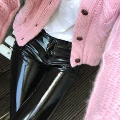 @trippnyc hiyyyyyy, can you make the high waisted vinyl pants again? Mine split up the back and now I can only find low rise ones :-(. Vinyl pants, pink cardigan, Alexa Chung