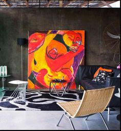 """I'd like to do a rotating art wall; The giant canvas forming the door/wall for storage. This week's project is the """" Statement du Jour.  """"Make a statement with BIG art."""""""