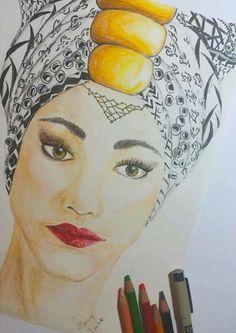 QUEEN drawn by me #DassyDarlette #Headwraps #afroart