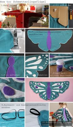 You can make a butterfly costume yourself fairly easily. - You can make a butterfly costume yourself fairly easily. Here& a quick guide on how to make y - Halloween Kostüm, Halloween Costumes For Kids, Halloween Parties, Sewing For Kids, Diy For Kids, Costume Papillon, Diy Papillon, Diy Butterfly Costume, Sewing Crafts