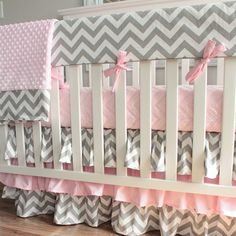 Gray Chevron Pink Bumperless Crib Rail Bedding Set