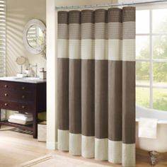 This Pleated Single Panel Shower Curtain Presents A Crisp Modern Look To Enliven Any Bathroom