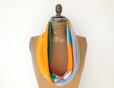 Notre Dame T Shirt Scarf / Orange Green Gray  Blue / by ohzie