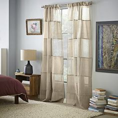 Essex Linen Window Panel- make these for living room to go from ceiling to floor, then move living room curtains upstairs