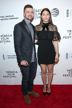 """Justin Timberlake and Jessica Biel attend """"The Devil And The Deep Blue Sea"""" Premiere during 2016 Tribeca Film Festival at BMCC John Zuccotti Theater on April 14, 2016 in New York City."""
