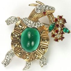 Trifari 'Alfred Philippe' Emerald Cabochon Turtle Carrying a Bouquet of Flowers Pin