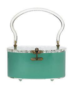 sky blue lucite purse