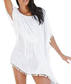 Women Tassel Bikini Cover Up Beach Wear Kaftan Chiffon Summer Mini Dress -- You can find more details by visiting the image link.(It is Amazon affiliate link) #developer