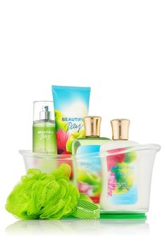 The Bath and Body Works Beautiful Day collection....smells like Apples, Daisies, and Peonies.   but really ANY bath and body products will do :)