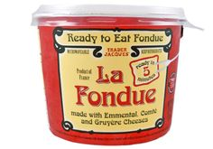 Trader Joe's La Fondue: Crafted from a classic Swiss recipe, ready-to-heat-and-enjoy blend of Swiss Emmental and Gruyère cheeses, white wine, kirsch (dry, clear brandy distilled from cherries) and a selection of savory spices.